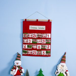 Red Christmas Advent Calendar Wall Hanging Xmas Ornament Printing Candy Bag Count Down Admission Gift Bags Home Decoration HH9-A2552