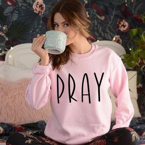 ONSEME ORAR camisola Mulheres Igreja roupa cristã Eu amo Jesus manga comprida Casual capuz Hoodies Mulheres moletom S-105