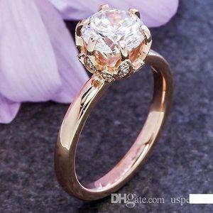 Pop alta USpecial USpecial 2018 modelos femeninos nuevo anillo de diamantes de la corona de la moda caliente plateado anillo de boda conjunto de circón garras de oro rosa de 14K de la flor de oro