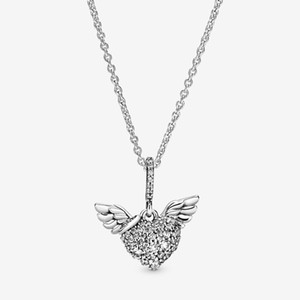 New Arrival 100% 925 sterling silver Pave Heart and Angel Wings Necklace fashion Jewelry making for women gifts free shipping