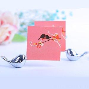 Titolare 20PCS / LOT amore uccelli Segnaposto per Matrimoni spazzolato argento Evento Festival di forniture per feste Placecard Photo Frame partito decorati