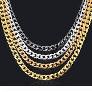 Chain Link Collier en argent Chaîne en or Noir Curb chaîne Magnifiquement Bijoux Corrente De Prata Masculina gros collier Miami
