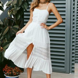 2020 Moda Boho Uzun Maxi Elbise Kadınlar Yaz Bayanlar Kolsuz Beyaz Plaj Elbise Akşam Parti Günlük Elbiseler