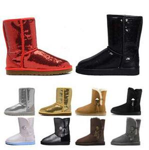 Kadınlar Bilek Mini Kısa Diz Bling Boots Parıltı Çizme Pullu WGG Avustralya Klasik tasarımcı Kar kış botları glitter