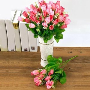 Wholesale- 1 Bouquet 15 Heads Fake Magnolia Bud Artificial Flower Wedding Party Home Decor Store 48