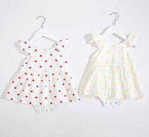 Traje de bebé Traje Recién nacido Trajes de verano Baby Girls Body Loveheart Print Mameluco para 0-2 años de edad Envío gratis
