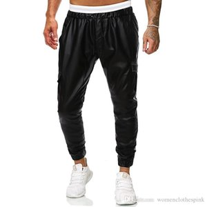 Luxury Mens PU Pants Designer Drawstring Straight Pants Autumn Mens Casual Pants