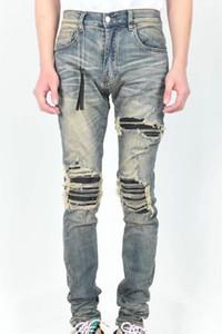 Mens 2020 nuevos pantalones vaqueros del diseñador de lujo para hombre de la cremallera pantalones vaqueros rasgados Pantalones vaqueros para hombre de alta calidad del diseñador del motorista Pantalones Tamaño 30-38