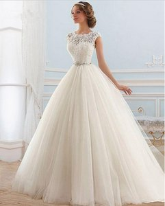 Bateau Heel Tulle линия свадебные платья с кружевными аппликациями без спинки свадьбы халат де Марие