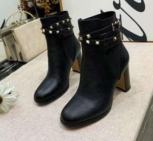Venda-Nova Hot Womens Martin Rivet Lichee Chunky Heel 8cm Cowboy Sapatinho Ms Ladies Shorts Casual Shoes