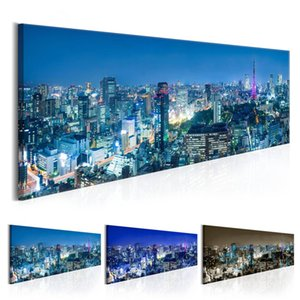Night View of Urban Architecture Building Statue Design Canvas Print Wall Art Modern Home Decoration No Frame(Multicolor)