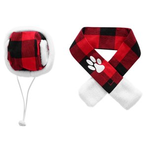Pet Winter Hat Scarf Set, Red And Black Plaids Holidays And Festivals Costume For Small Dogs aa Dog Apparel