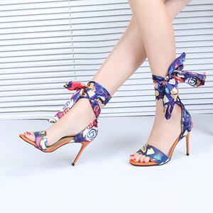 Pop2019 Sapato Personalidade Única Toe Dreno Bandage Padrão Decorativo das Mulheres Finas Com Sandálias Mulher