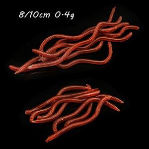 100шт 8 / 10см 0.4g Red Worms Силикон рыболовную приманку Мягкие Приманки Воблеры Искусственные приманки Песка рыболовные снасти Аксессуары