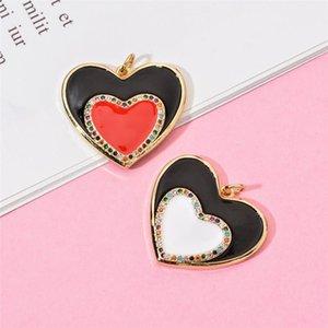 Copper CZ Zircon Heart Shape Enamel Charms Pendant For Jewelry Making DIY Necklace Bracelet Accessories