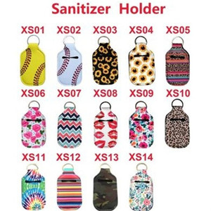 30ml Hand Sanitizer Bottle Titular Neoprene Sanitizer titulares Chaveiros Perfume portátil luva Key Anéis Buckle estilo colorido 1 8JS H19