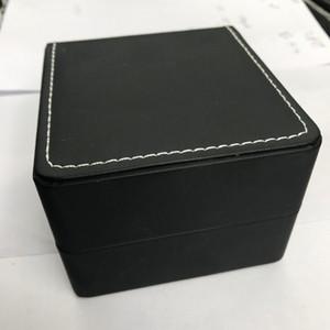 couro preto caixas de relógio clássico com aparência preta, branca dentro de linhas de costura e para fora.