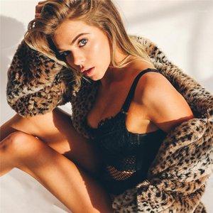إمرأة لباس خارجي أزياء طية صدر السترة الرقبة الإناث الملابس ليوبارد طباعة النساءيه مصمم الستر فضفاض الخريف التمويه سحاب