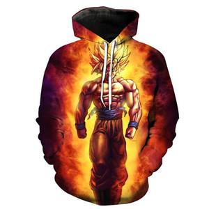 Взрыв моделей 3D цифровая печать Dragon Ball анимация узором мужской свитер с длинными рукавами с капюшоном