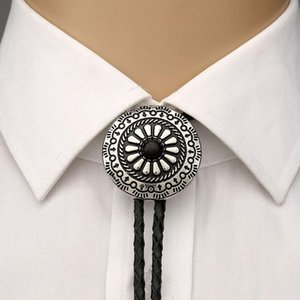 Metal round pandent bolo tie for man Indian cowboy Neck Tie Set Ties western cowgirl leather rope zinc alloy necktie
