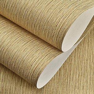 Textura de paja rústica Papel pintado de color puro moderno simple simple retro retro no tejido clásico de pared sólido decoración de papel, marrón, beige theel