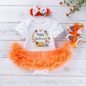 fashion Toddler Baby Kids Girls Halloween Pumpkin Tulle Pagliaccetto Abito Scarpe Hairband Set abito estivo ragazze principessa tulle