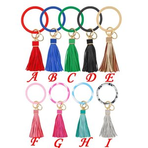 Tassel Keychains Fashion Rainbery Braccialetto Donne PU O Circolo Multiful New Wristlet Keychain Leather Girls Brelo Chaveiro Llavero PFIPL
