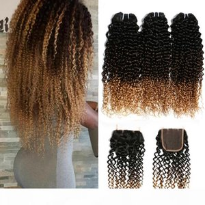 Ombre Human Hair Lace Closure With 3 Bundles Afro Kinky Curly Blonde Extensions Cheap 1B 4 27 Malaysian Virgin Curly Ombre Weaves Closure
