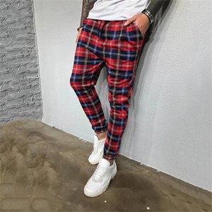 Плед печати Mens конструктора брюки Мода Карманы мужские Тощий карандаш брюки Повседневные Street Style Мужская Jogger Брюки