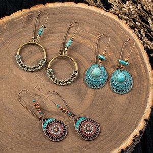 Vintage Big Flower Leaf Earring Set Female Statement Jewelry Ethnic Bohemia Long Bronze Handing Dangling Drop Earrings for Women