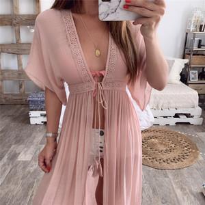 Свободное длинное платье с открытыми стежками для женщин Праздничные кружевные летние платья с половиной рукавов 2019 Пляжное бикини платье Boho Макси Vestidos