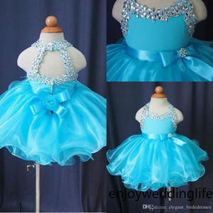 Glitz queque Vestidos Pageant para as meninas do bebê frisada Organza infantil bonito Crianças Curto Prom Vestidos Luz da festa de aniversário de cristal azul saia