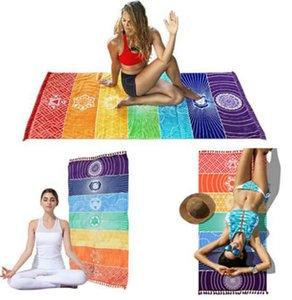 150 * 75 centímetros de poliéster Chakra Tapestry Yoga tapete Chakras Tassel listrado Tapete Sarongs Praia Tapeçaria viagem Xaile KKA7880