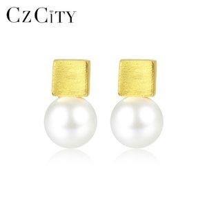 CZCITY Luxo Escova Sólida 925 Sterling Silver Stud Brincos para Mulheres Fine Jewelry Imitação de Pérolas Pendientes Femme Presentes SE0376