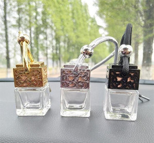 Cube Car Perfume Bottle Hanging Hollow Rearview Ornament Air Freshener For Essential Oils Diffuser Fragrance Empty Glass Bottle Pendant 575