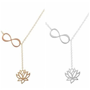 Infinity and Yoga Lotus Pendant Necklaces for Women Y Style Long Chain Layering Flower Jewelry Wedding Gift