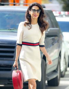 Moda ~ S 3XL Qualidade Mulheres Vestidos altos 2020 Primavera / Outono branca meia manga na altura do joelho pista elegante vestido de luxo deisgner ocasional