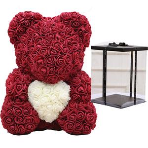 Dropshipping Teddybär Rose Blume 40cm Artificial Seifenschaum Bear of Roses New Year Geschenke für Frauen Valentines Geschenk Hochzeit