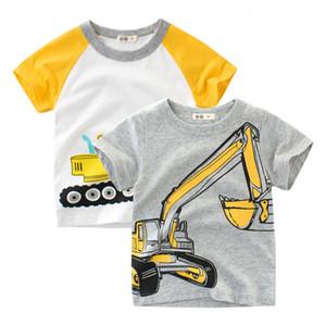 Yaz Üst Erkek Bebek T Gömlek Ekskavatör Nakış Gri Kısa Kollu Erkek T Gömlek Saf Pamuk Çocuk Giysileri 2-9Y