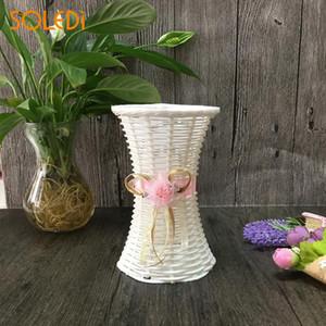 SOLEDI Practical Fashion Storage Basket Flower Vase Ribbon Candy Hotels Fruit Hospitals Artificial Rattan Vase Wedding Decor