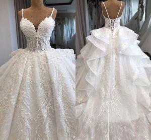 Lujo elegante correas espaguetis vestidos de novia de encaje completo 2019 corpiños de ilusión de encaje apliques largo tren de la boda vestidos de novia BC2166