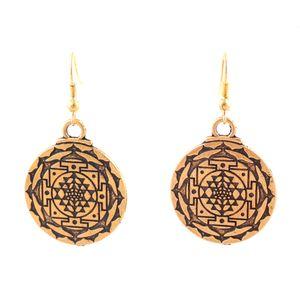 HY136 Vintage style viking talisman religieux boucles d'oreilles rondes pendentif de richesse clip sur le charme de bijoux boucle d'oreille en gros pour les femmes