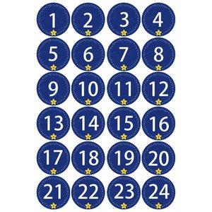 24pcs Craft Takı Ambalaj Numaraları Takvim Şeker Rustic İpli Sticker Düğün Noel Hediyesi Çanta Dekorasyon Sunar