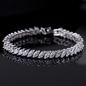 Silver Gold Crystal Wedding Jewelry Bangles Bracelets for Women Costume Jewelry Cubic Zirconia Diamond Bridal Chain Bracelet