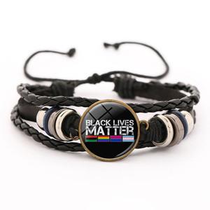 Nuovo POSSO NON RESPIRARE vite nero contano in pelle intrecciata braccialetto di fascini per le donne gli uomini fatti a mano braccialetto multi-layer Glass button gemma cinghia