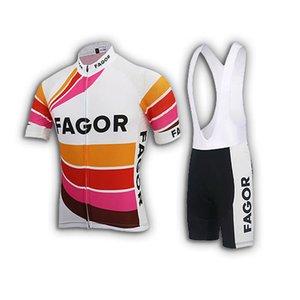 Manica corta Fagor TEAM Retro Classic Jerseys Set Bicicletta da corsa dei vestiti di estate Kit Maillot Ropa Ciclismo