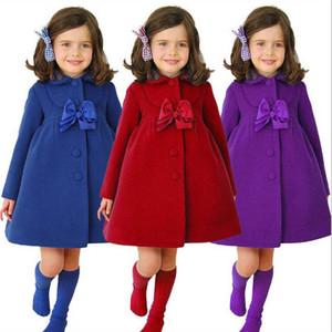 Девушки линь Пальто Детская Зимняя Одежда Детский конструктор куртки с длинным рукавом Vintage пальто пыли British отложным Детский Bow Tie Верхняя одежда D6377