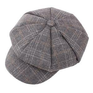 Vente chaude Nouveau Tweed Newsboy Cap hommes plat Utumn hiver Béret Caps Chevrons hommes octogonal Flatcap Pilote Voyage Flat Chapeau
