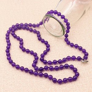 """Natural Stone Round Beads Long Necklace for Women Jades Crystal Female Payer Regious Amethysts Pendant Chain Necklaces 36""""A949"""