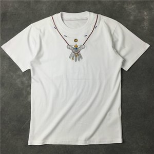 2020 Embroidery Eagle Necklace Mens Designer T-shirt Short-sleevedsummer Breathable T-shirt Casual Simple Men and Women Street Fashion